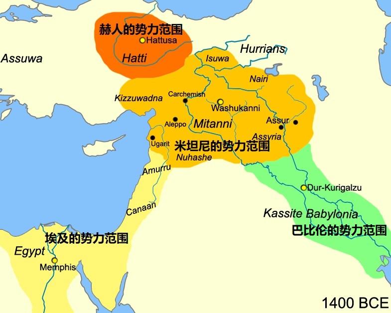 上图:主前15世纪以色列人进迦南时中东各国的形势。埃及、米坦尼(Mitanni)、赫人(Hatti)、古巴比伦(Kassite Babylonia)是当时的四大主要势力。政治婚姻是当时各国之间的外交工具,所以君王普遍妃嫔众多。古埃及第十八王朝法老图特摩斯四世(Thutmose IV;主前1401-1391年在位)与米坦尼公主结婚,结束了与米坦尼之间的长期战争。他儿子阿蒙霍特普三世(Amenhotep III,主前1391–1353在位)也娶了两位米坦尼公主,继续与米坦尼保持结盟关系,共同对付赫人。
