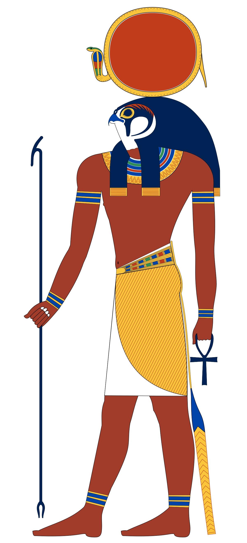 上图:以色列人出埃及时,古埃及第十八王朝的主神是太阳神拉(Ra/Re)。拉神最常见的形象是鹰首人身,顶着日盘。