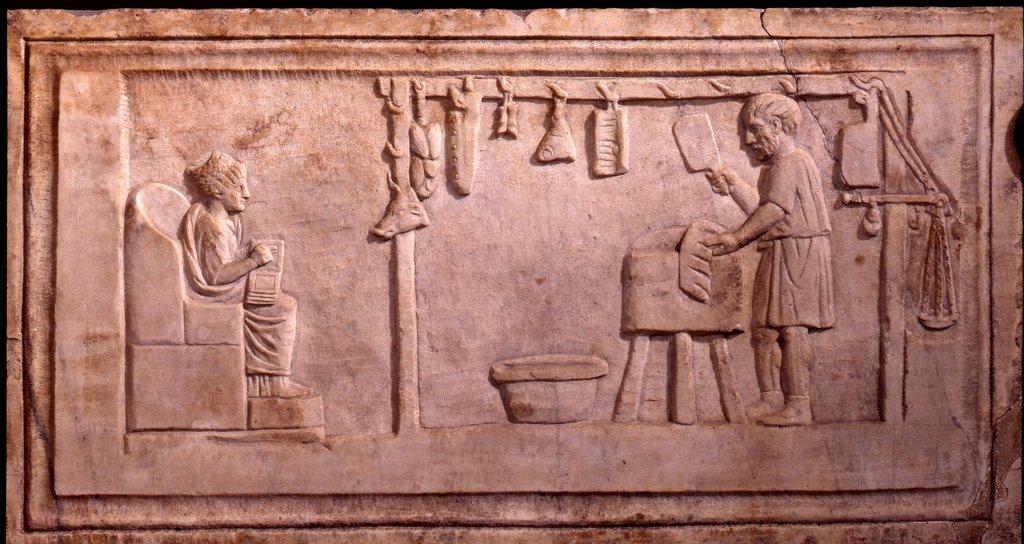 上图:第2世纪墓葬浮雕上的罗马肉店。罗马屠夫并不会按照利未记的要求把血放干净,还可能拜过偶像,所以外邦人卖的肉在律法上都是不洁净的。