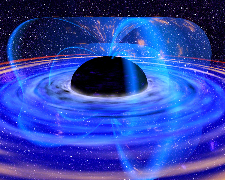 上图:超大质量黑洞的艺术想象图。热寂理论(Heat death of the universe)是猜想宇宙终极命运的一种假说,源于19世纪,发展于20世纪。根据热力学第二定律,作为一个孤立的系统,宇宙的熵(entropy)会随着时间的流逝而增加,也就是由有序走向无序。当所有的质子都已完成衰变后,宇宙中就只剩黑洞和轻子;当所有的黑洞蒸发以后,所有的物质都衰变为光子和轻子,宇宙进入低能状态,量子事件将成为宇宙的主宰。这种状态称为热寂。
