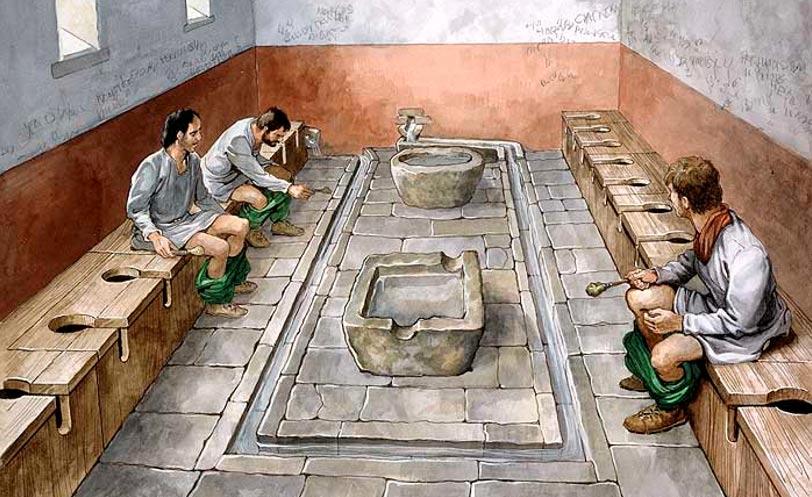 上图:古罗马的公共厕所。虽然罗马人建造了豪华的公共厕所,但这并没有使他们更洁净,因为他们用来善后的最高级的东西,是大家共享的海绵棒(Tersorium),用水冲刷一下就给下一位继续使用。