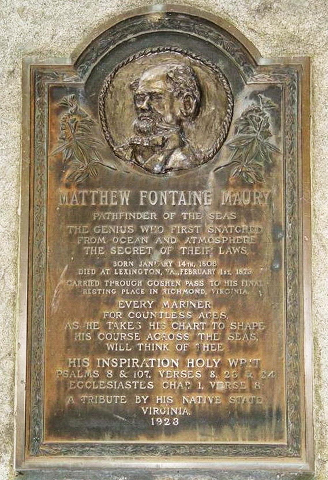 上图:位于弗吉尼亚州里士满的莫里纪念碑,立于1923年,上面写着:莫里发现海洋航道的灵感来自诗篇8:8、诗篇107:23-24和传道书1:6。美国科学家马太·方丹·莫里(Matthew Fontaine Maury,1806-1873年)是海洋航道的发现者,他提出了横渡大西洋的最佳航道,他所绘制的航海图、海洋图和风场图大幅缩短了从美国到欧洲之间的航程,并且减低了遇到恶劣天气的机会。