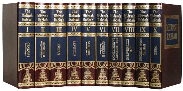 上图:《米大示 Midrash》的十卷Rabbah部分,而《米大示》全书有29卷。《塔木德 Talmud》全书63卷,包括三大部分:口传律法《密西拿 Mishnah》、口传律法注释《革马拉 Gemara》和圣经注释《米大示 Midrash》。「米大示」的意思是解释、阐释,是犹太拉比对圣经的注释,雏形出现于主后2世纪,并于主后6至10世纪成书。全书按希伯来圣经《塔纳赫》的顺序编排,称呼是在每书卷加上「米大示」,比如:《出埃及记》的注释被称为《出埃及记米大示》。《米大示》的内容分为两部分:《哈拉哈 Halachah》和《哈加达 Haggadah》。《哈拉哈》的意思是规则,是犹太教口传法规的文献,阐释经文的律法、教义、礼仪与行为规范,说明其生活应用。《哈加达》的意思是宣讲,是阐述经文的寓意、历史传奇和含义等,并对逾越节的仪式和祷告进行指导。