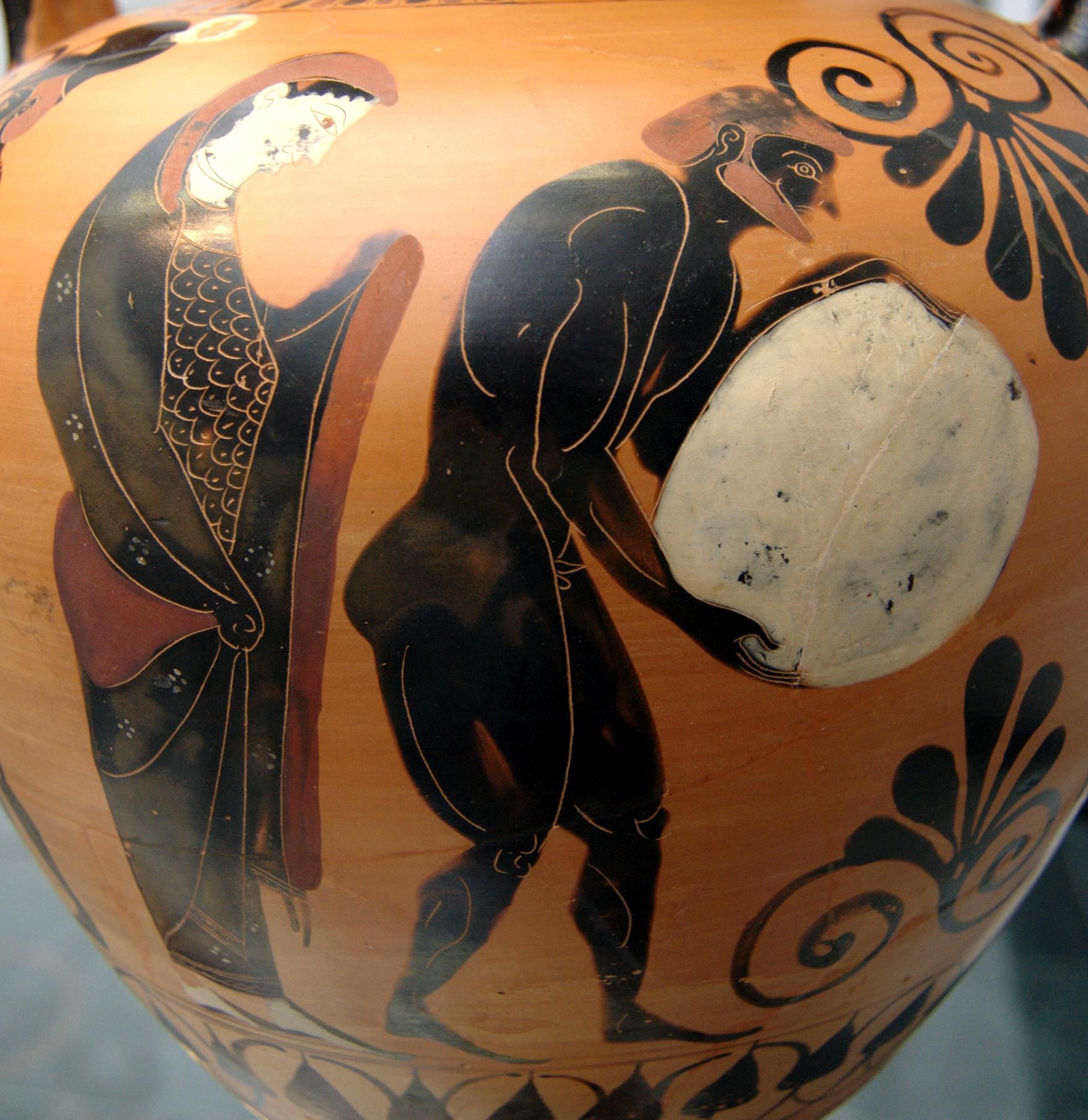 上图:主前530年的希腊双耳瓶,上面的图案是冥后珀耳塞福涅(Persephone)监督西西弗斯(Sisyphus)在冥界受罚。冥界(Τάρταρος, Tartaros)是希腊神话中「地狱」的代名词,是关押、惩罚恶人的监狱,用冥河与人间世界连通。在希腊神话中,主神宙斯取得了天、地、海和地狱的统治权之后,把克洛诺斯等泰坦巨神丢到冥界。