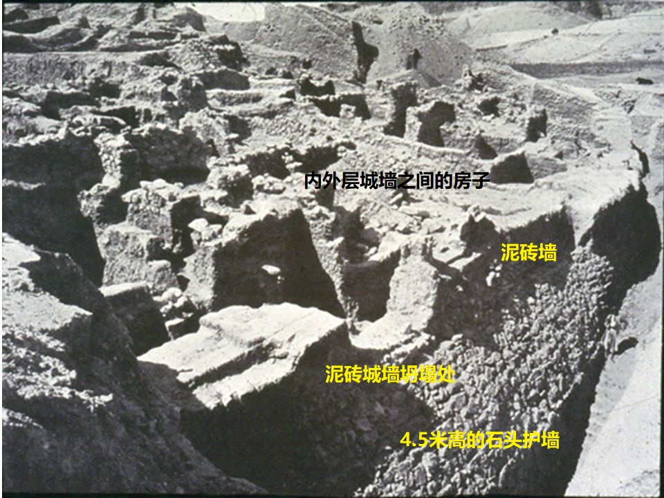上图:1900年代,德国考古学家Ernest Sellin和Carl Watzinger挖掘耶利哥废墟时拍摄的城墙上的房屋。耶利哥有内外两层城墙,照片中右下方的外层石头护墙大约有4.5米高,护墙上方是泥砖墙,砖墙后面、内外城墙之间的斜坡上建有房屋。这些房屋可能是穷人住的,墙壁只有一块砖厚,喇合的家就在类似的房子里。