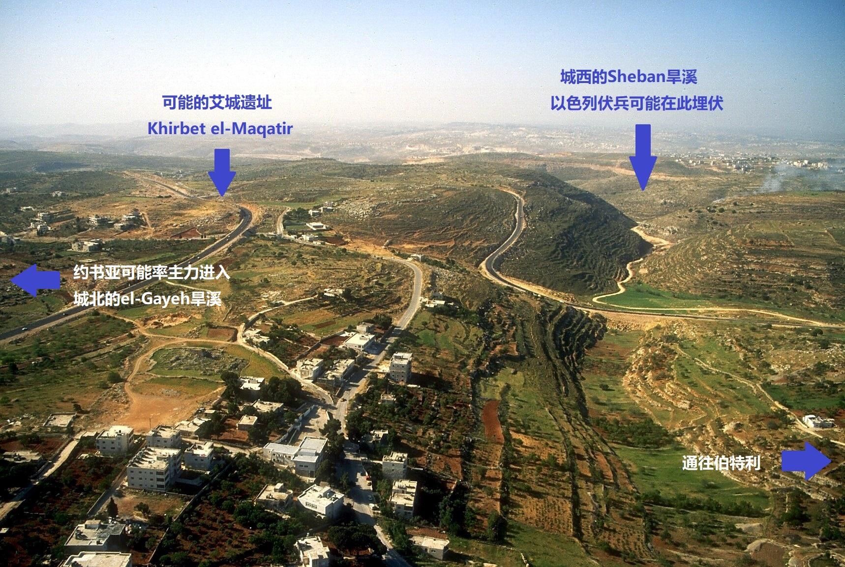 上图:从北向南鸟瞰艾城遗址和古战场。