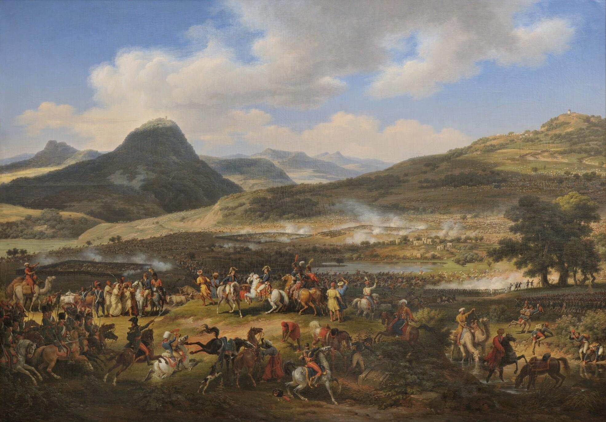 上图:描绘1799年4月16日拿破仑他泊山战役(Battle of Mount Tabor)油画。拿破仑在远征埃及时,4千法军在他泊山下的耶斯列平原阻击奥斯曼土耳其援军3万千人,最终取胜。当时基顺河平原也泛滥,一些土耳其人在逃跑时淹死。