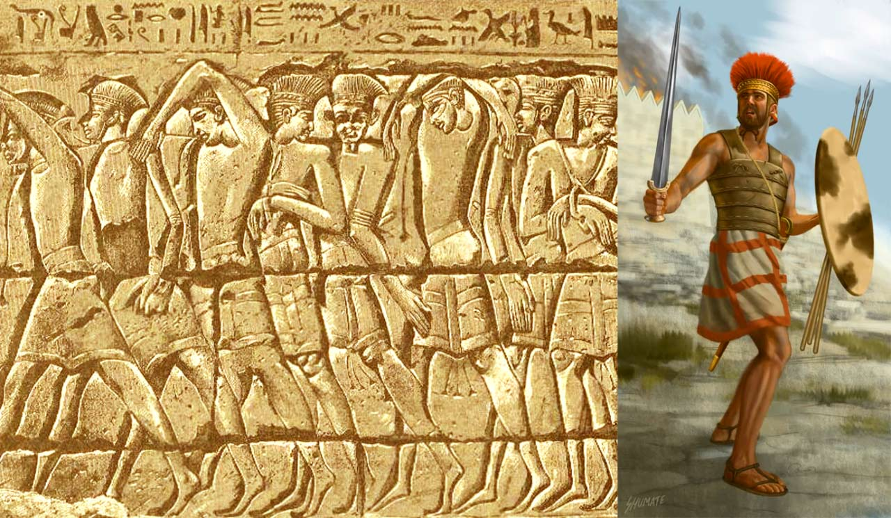 上图:Medinet Habu神庙壁画上被俘的非利士人战士形象。神预备参孙「起首拯救以色列人脱离非利士人的手」(士十三5)。