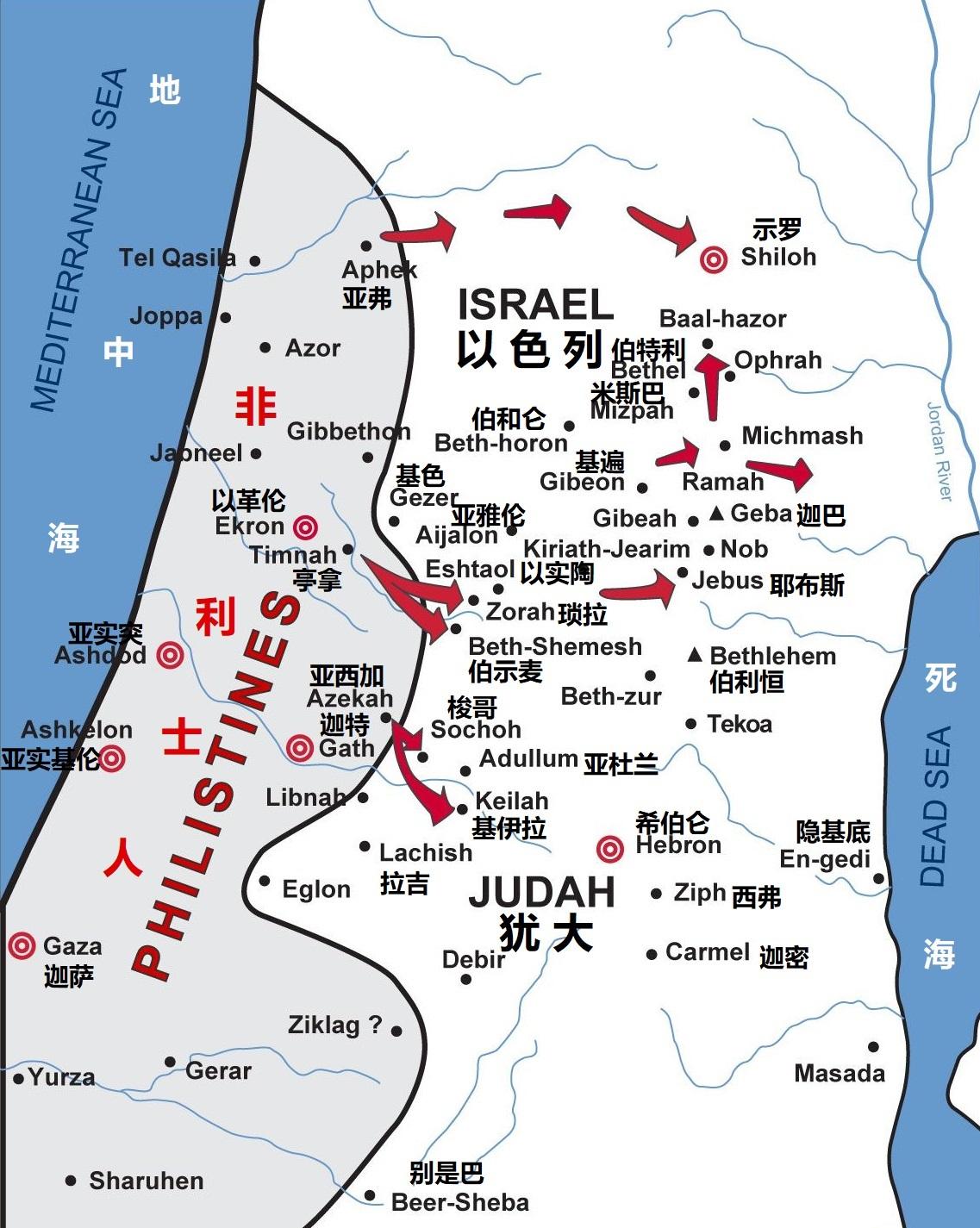 上图:非利士五城(迦萨、亚实基伦、亚实突、迦特、以革伦),以及非利士人与以色列人争战的主要地点。以色列人称非利士人为「帕利士丁 P'lishtim」,他们的地为「帕勒斯坦 Pelesheth」。主前5世纪,古希腊历史学家希罗多德开始用「巴勒斯坦 Palaistinē」来称呼这个地区。主后135年,罗马帝国赶走犹太人,把犹太省改名为「叙利亚巴勒斯坦 Syria Palaestina」,后来被称为「巴勒斯坦 Palestine」,一直到1948年以色列复国。今天的巴勒斯坦人是二世纪以后陆续迁入的各民族混杂形成的,他们在七世纪之前大都是希腊化的基督徒,七世纪被阿拉伯人征服后仍然是基督徒,一直到1187年被萨拉丁(Saladin)征服后,才逐渐伊斯兰化。