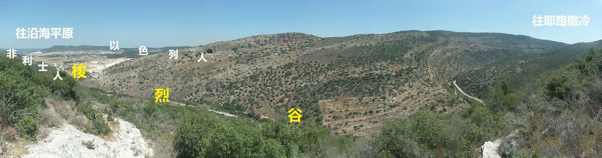 上图:蜿蜒的梭烈谷是从沿海平原前往耶路撒冷的重要通道,谷中的梭烈溪是犹大山地最大、也是最重要的流域,从中央山地穿过示非拉丘陵流向地中海。这个地区很适合种葡萄,在士师时代是以色列人与非利士人的分界线。