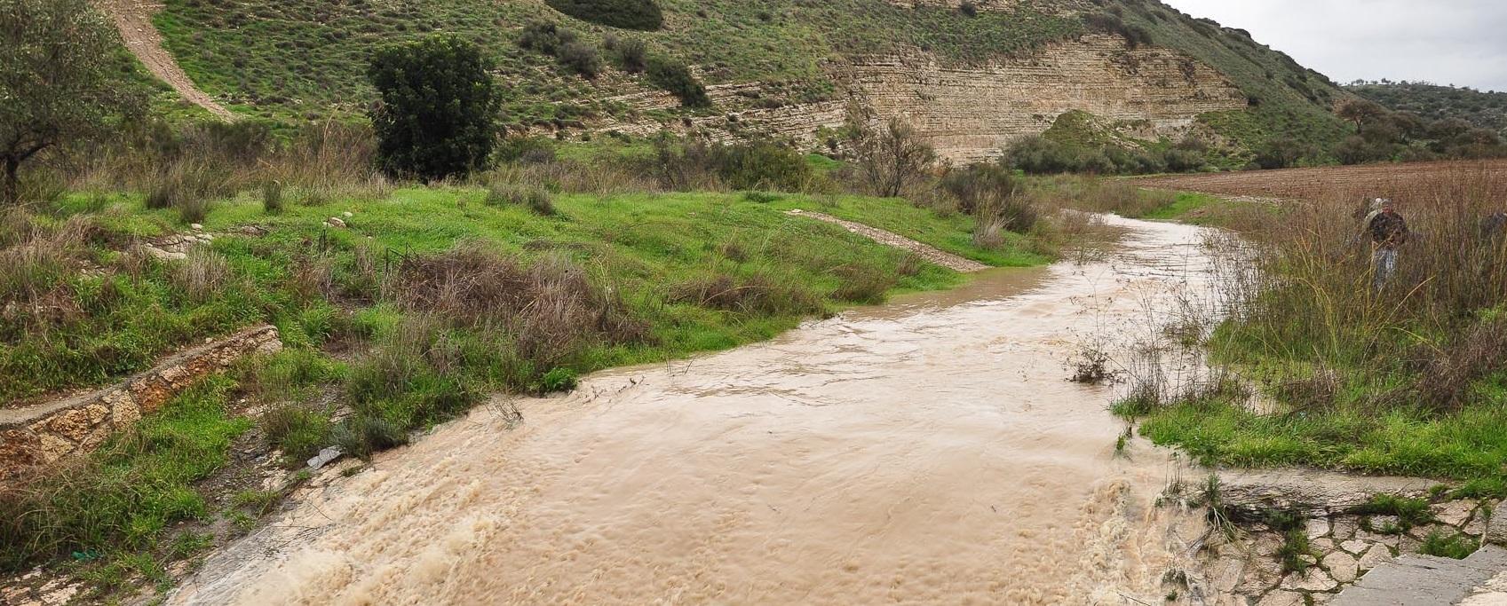 上图:下雨三天之后的以拉溪,河水满溢。