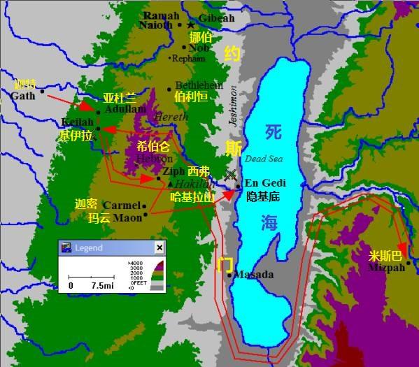 上图:约斯门(Jeshimon)是犹大旷野东边与死海接壤的带状地区,包括隐·基底。扫罗在哈基拉山安营。