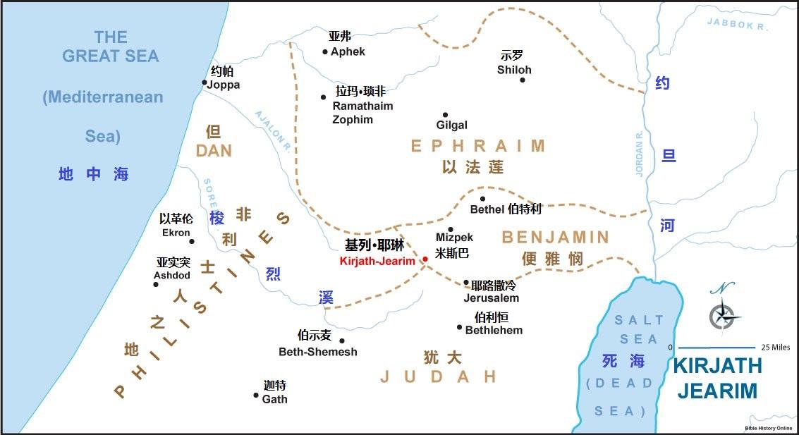 上图:基列·耶琳位于犹大、便雅悯和但支派的交界之处,离米斯巴很近。