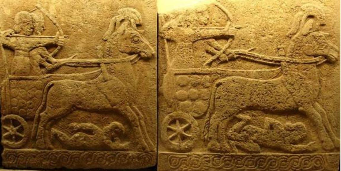 上图:主前9世纪的卡尔凯美什(Carchemish)浮雕,描绘赫人的战车轧过敌人。