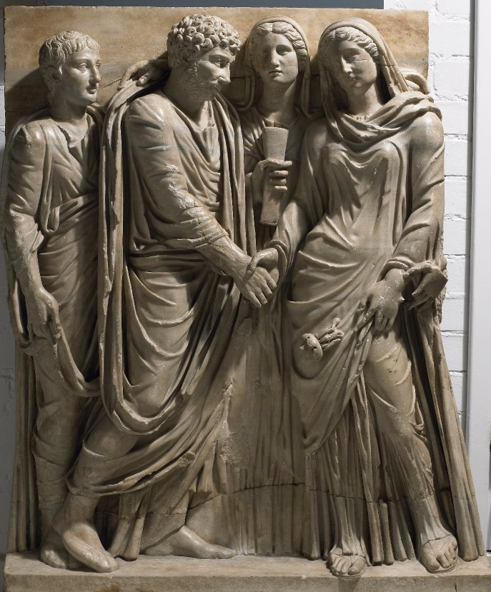 上图:古罗马婚礼,现藏于大英博物馆。古代希腊-罗马的婚姻是严格的一夫一妻制,妻子在经济上比较独立,社会鼓励寡妇或离婚的妻子再婚。寡妇可以继承丈夫的遗产,穷人的寡妇很穷,富人的寡妇很富。有些多次结婚的寡妇甚至积累了巨大的财产,被许多男人所追求。因此,大部分普通的寡妇是「真为寡妇的」(提前五3),但有些则是「好宴乐的寡妇」(提前五6)。