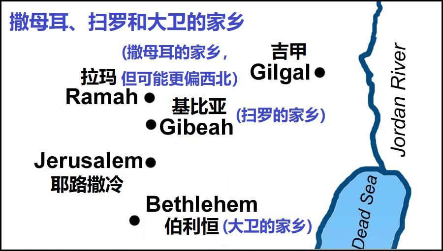 上图:撒母耳、扫罗和大卫的家乡。