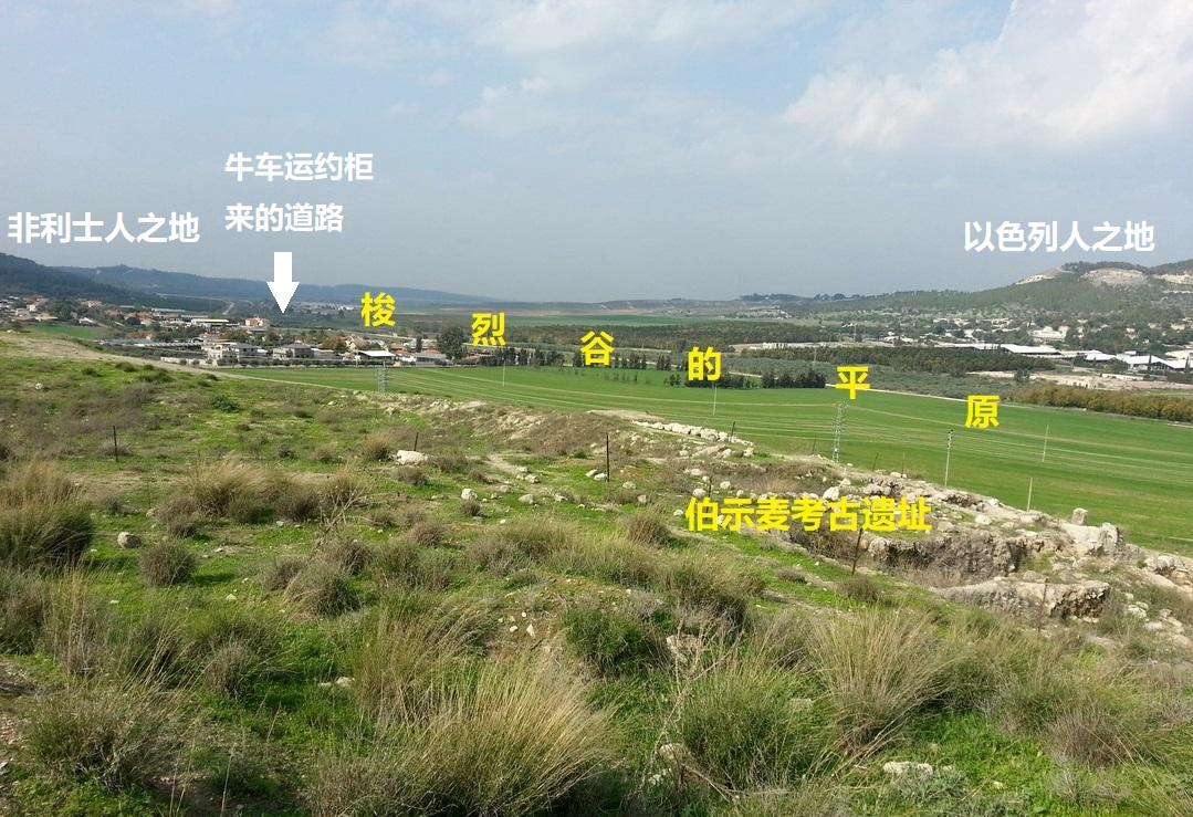 上图:从伯示麦遗址看牛车运约柜来的道路。