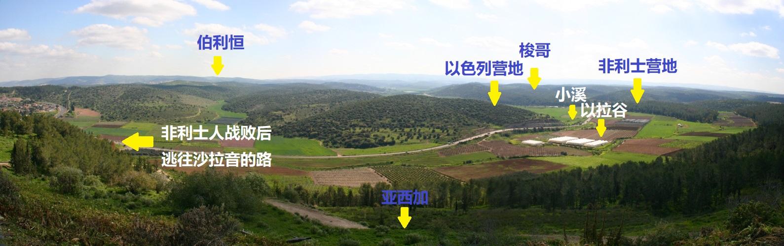 上图:从亚西加俯瞰以拉谷战场。
