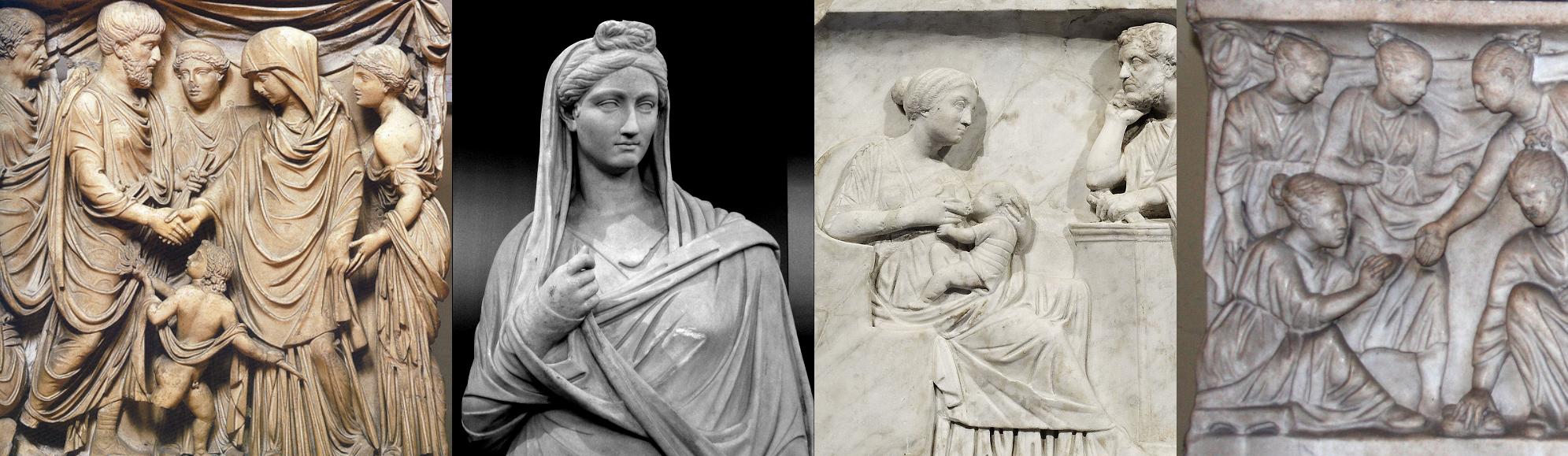 上图:古罗马浮雕上的一系列妇女形象,表明当时希腊罗马妇女并非都必须蒙头。左一是婚礼的场面,其中新娘蒙头,伴娘不蒙头;左二是一位蒙头的已婚妇女;左三是一位不蒙头的哺乳母亲;左四是一群不蒙头的玩耍女孩。