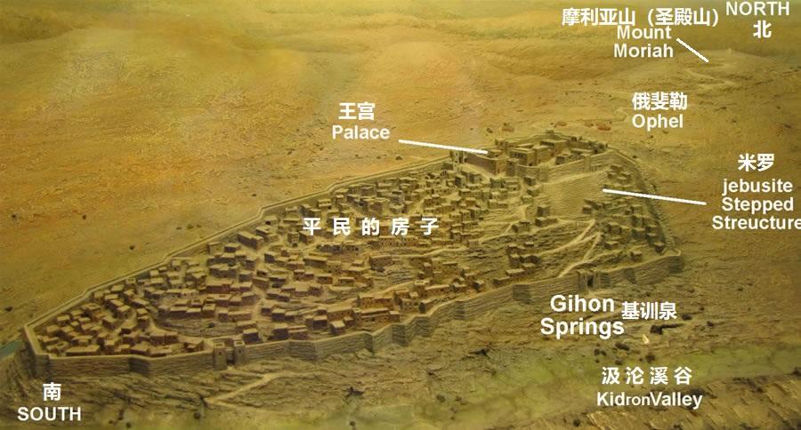 上图:大卫时代的大卫城模型。王宫建在最高处,站在王宫的屋顶上可以俯瞰平民的院子。