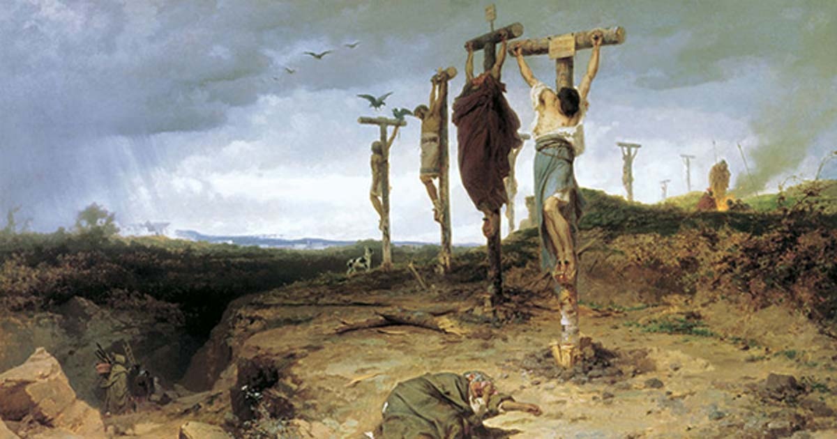 上图:十字架曾作为一种古代死刑的刑具,流行使用于巴比伦、波斯帝国、亚兰、以色列、迦太基和古罗马等地,常用以处死叛逆者、异教徒、奴隶和没有公民权的人。在当时的社会,这种死刑方式是一种忌讳。由于消耗的资源很大,一年通常只会处死数人,对象是极度重犯。主后337年,罗马皇帝君士坦丁大帝下令禁用此刑具。刑具的形状是两条架成十字形的原木。行刑前,犯人会先行背着十字架的横木游街,直至走到行刑场所。行刑方法是先把犯人的双手打横张开,并用长钉穿过前臂两条骨之间,把手臂钉在一条横木上,再把横木放在一条垂直的木上,再把双脚钉在直木上面,然后把十字架竖起来,任他慢慢死去。
