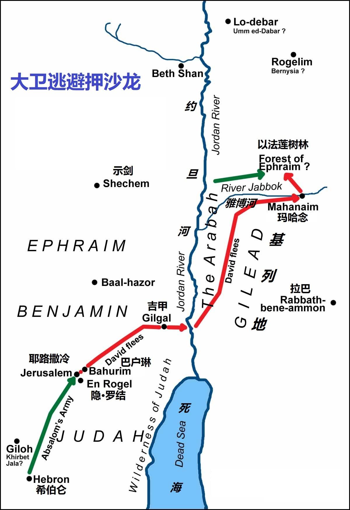 上图:大卫逃避押沙龙,从耶路撒冷逃到约旦河东的玛哈念。