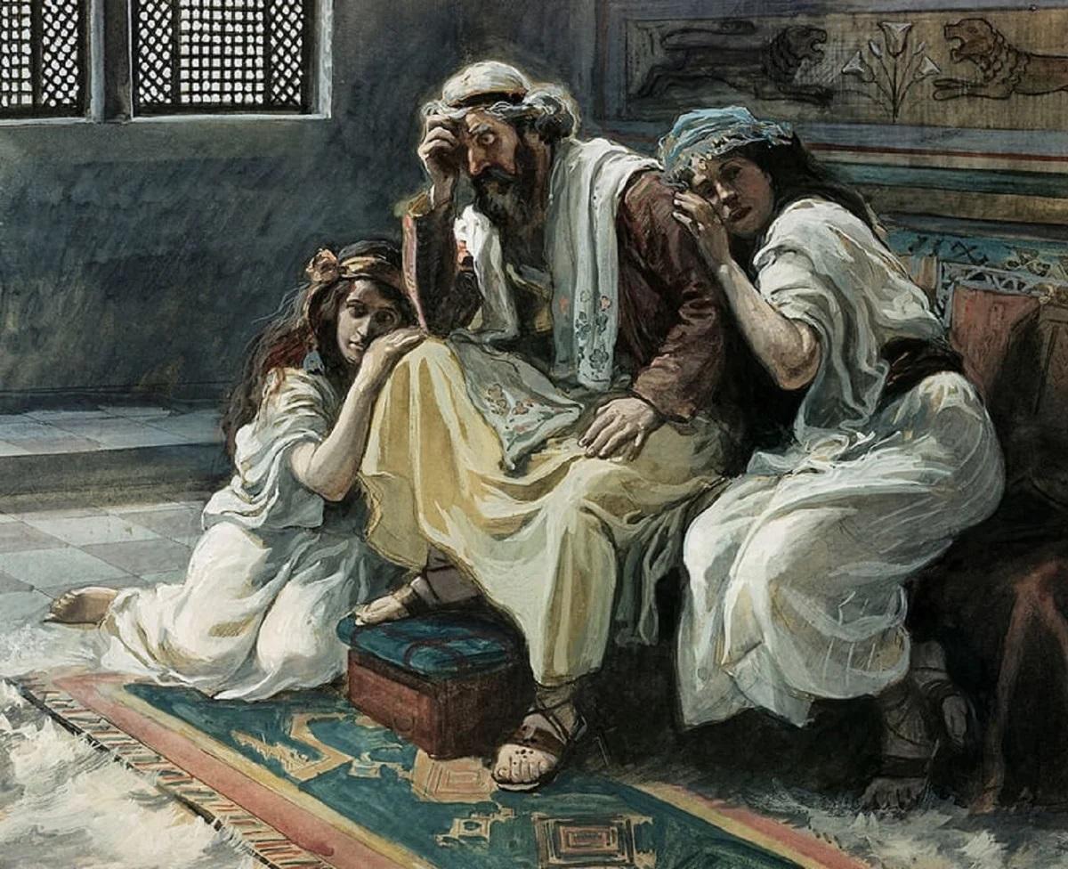 上图:19世纪末法国画家詹姆斯·迪索(James J. Tissot)的油画:大卫哀悼暗嫩。大卫一面为暗嫩的死难过,一面为押沙龙的流亡而牵肠挂肚。兄弟相争,受罪的都是父母;人类悖逆,忧伤的也是创造他们的神(创六6)。