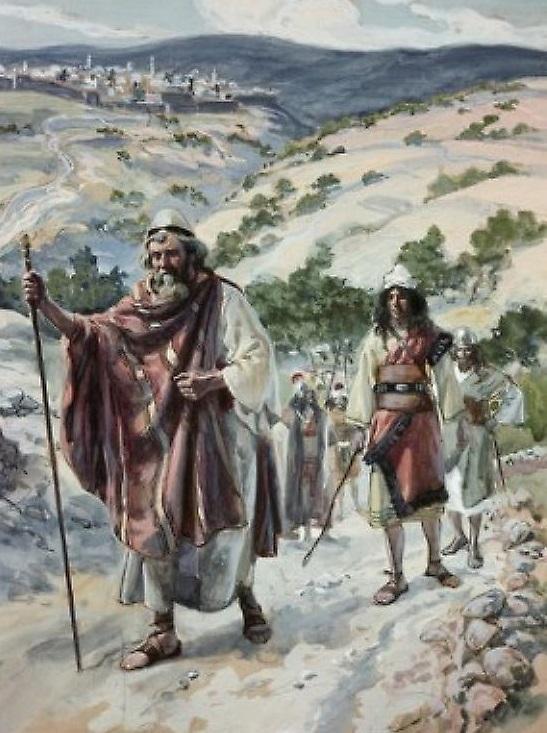 上图:19世纪末法国画家詹姆斯·迪索(James J. Tissot)的油画:大卫逃离耶路撒冷,登上橄榄山。
