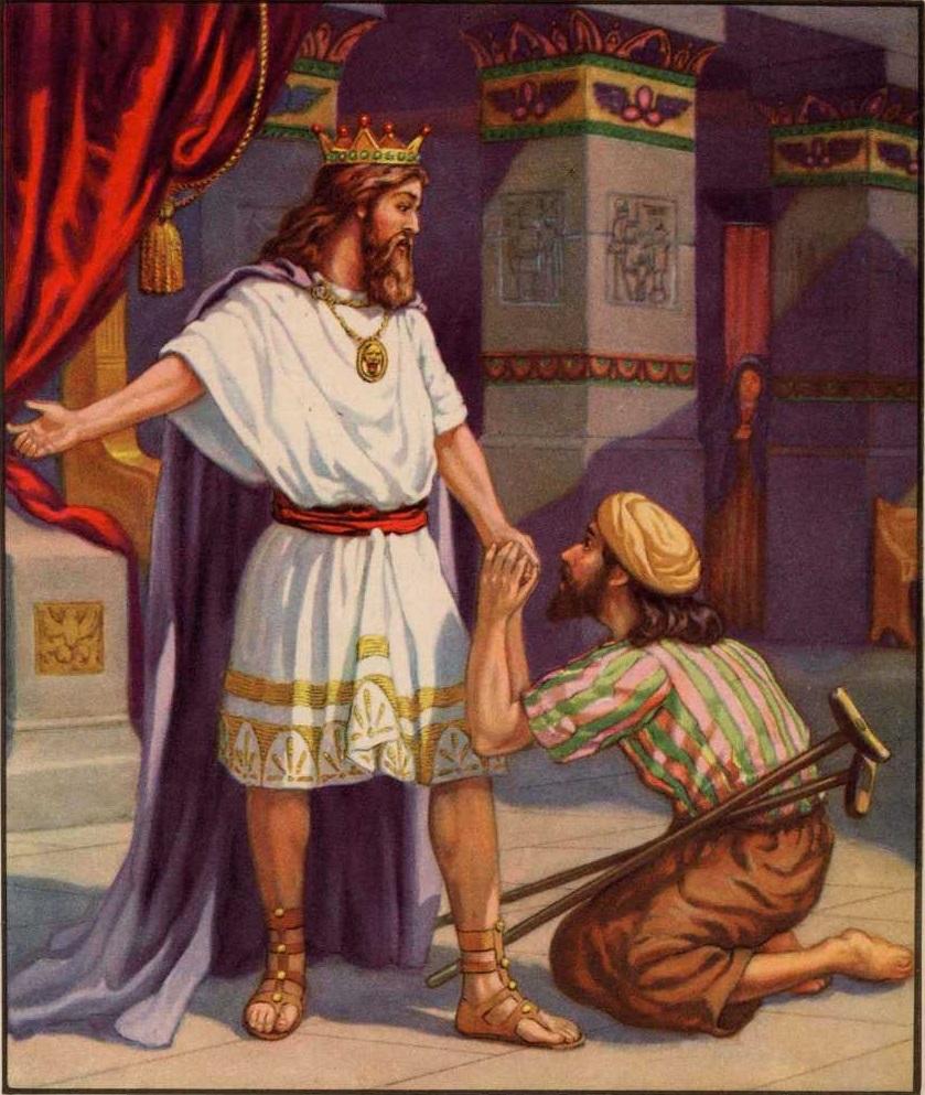 上图:艺术想象图:大卫照神的慈爱恩待米非波设。