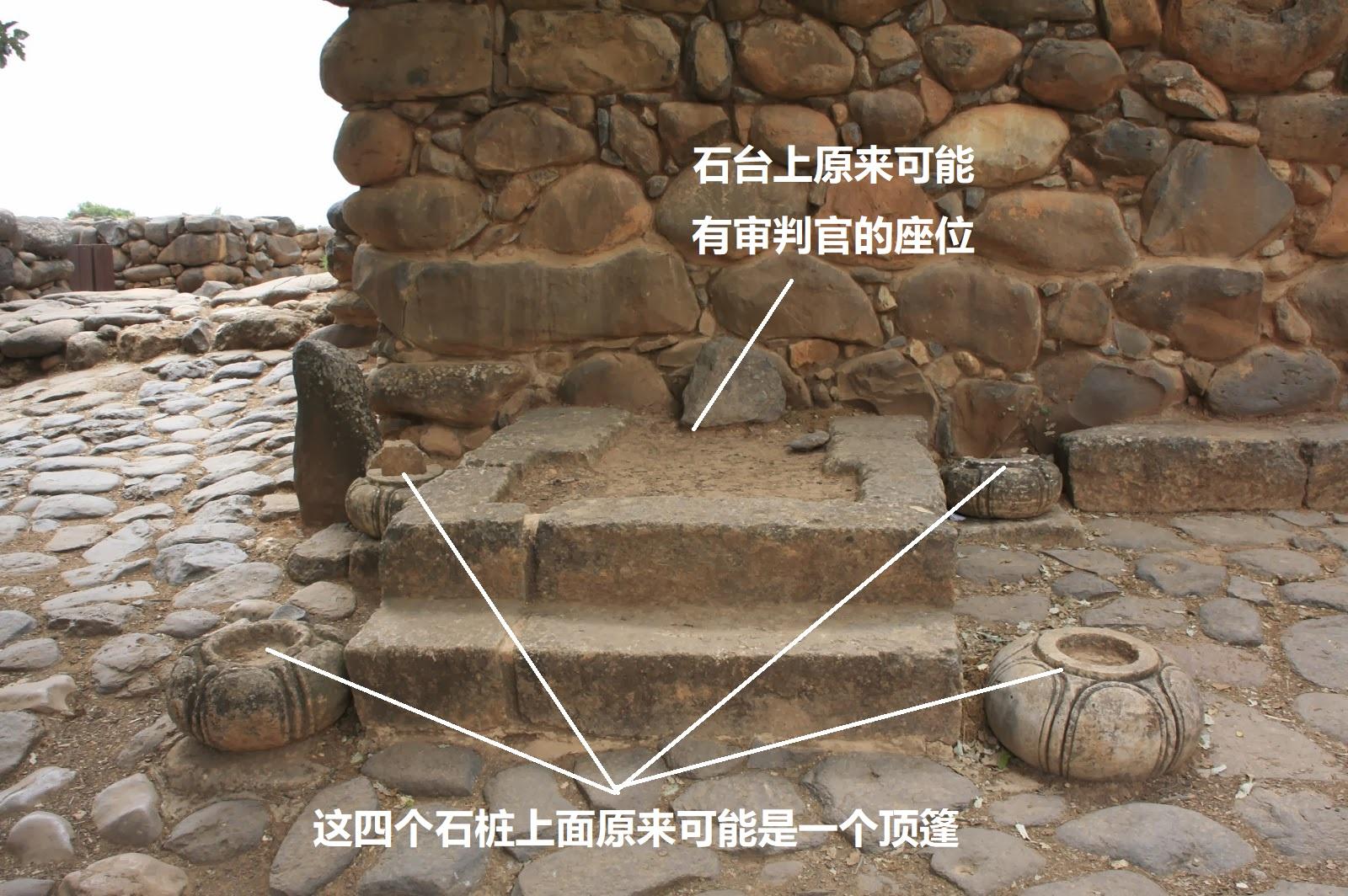 上图:但城遗址(Tel Dan)城门口的座位,用于礼仪、诉讼。石台上原来可能有顶篷遮盖,上面可能设有宝座。