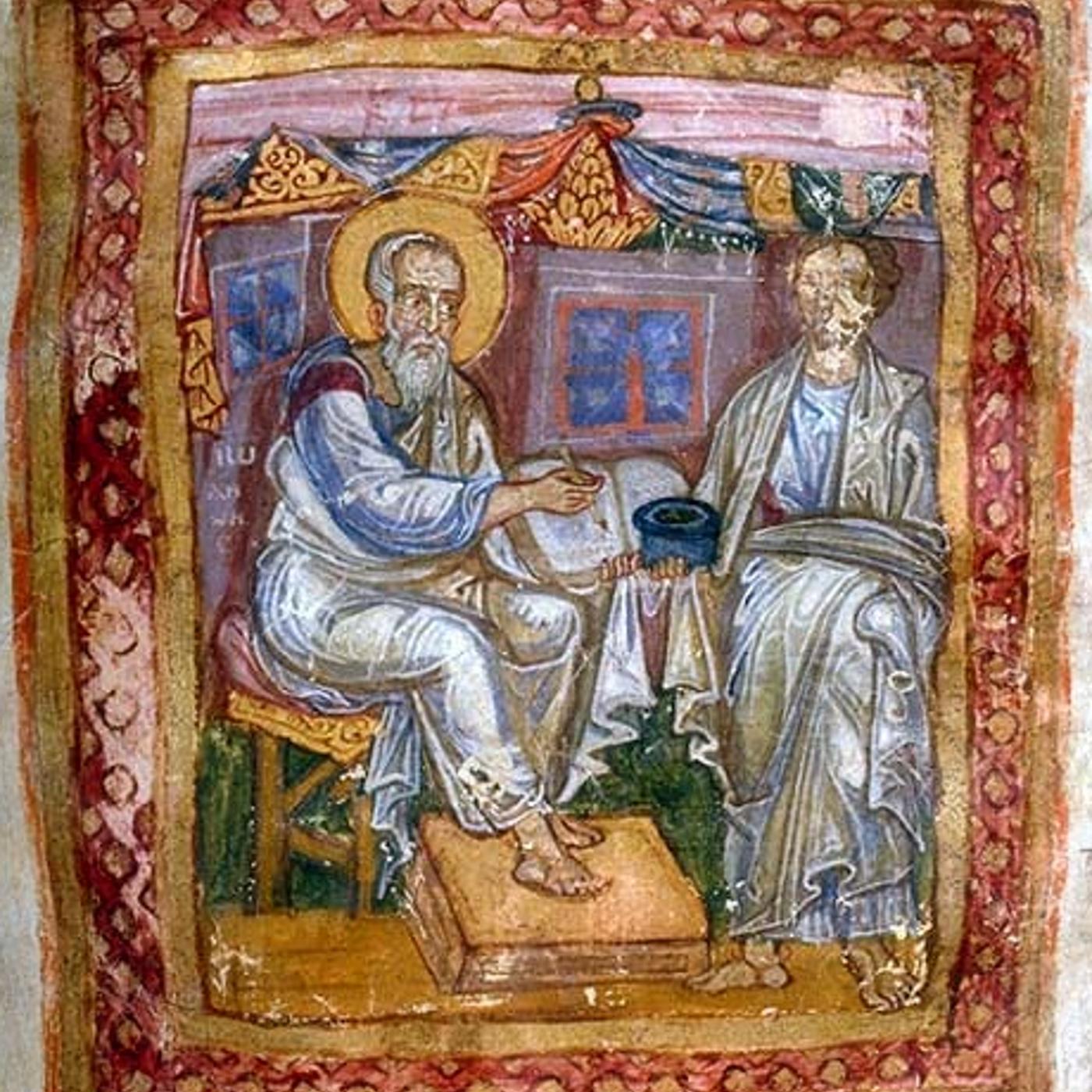 上图:11世纪所画的使徒约翰(左)与马吉安(右;Marcion of Sinope,主后110-160年)。马吉安热心传福音和慈善事工,但在罪与苦难困扰之下发展出善恶二元论的神论与基督论,主后144年被罗马教会控为异端。马吉安是第一位尝试编辑《新约》正典的人,他拒绝旧约,所编辑的典籍包含保罗的10封书信(除教牧书信外)和删节后的路加福音,被称之为「马吉安正典 Marcion's Canon」。马吉安刺激教会积极地编辑《新约》正典,直到主后397年迦太基会议正式确立《新约》27卷正典。