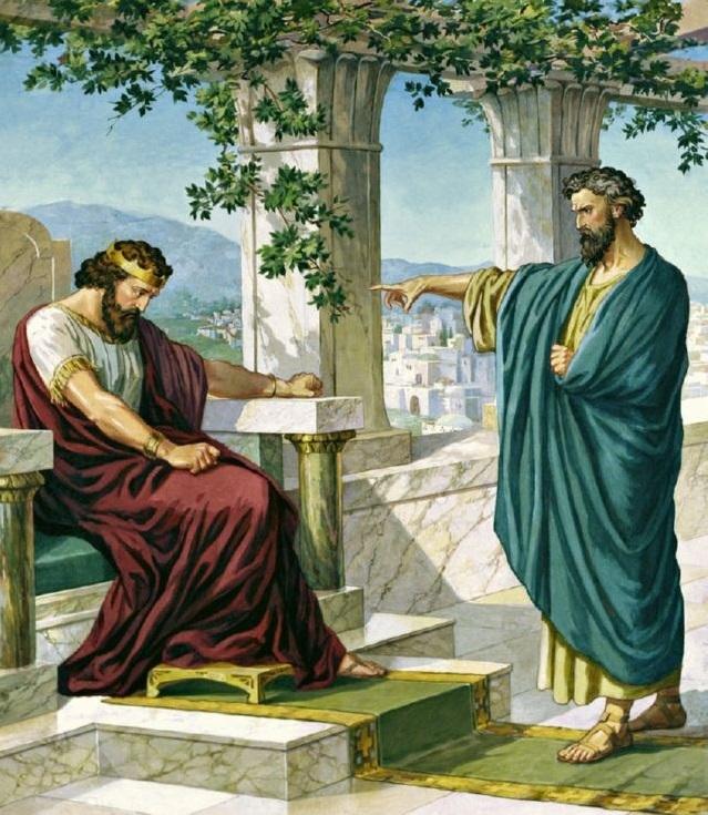 上图:艺术想象图:拿单对大卫说:「你就是那人!」(撒下十二7)。
