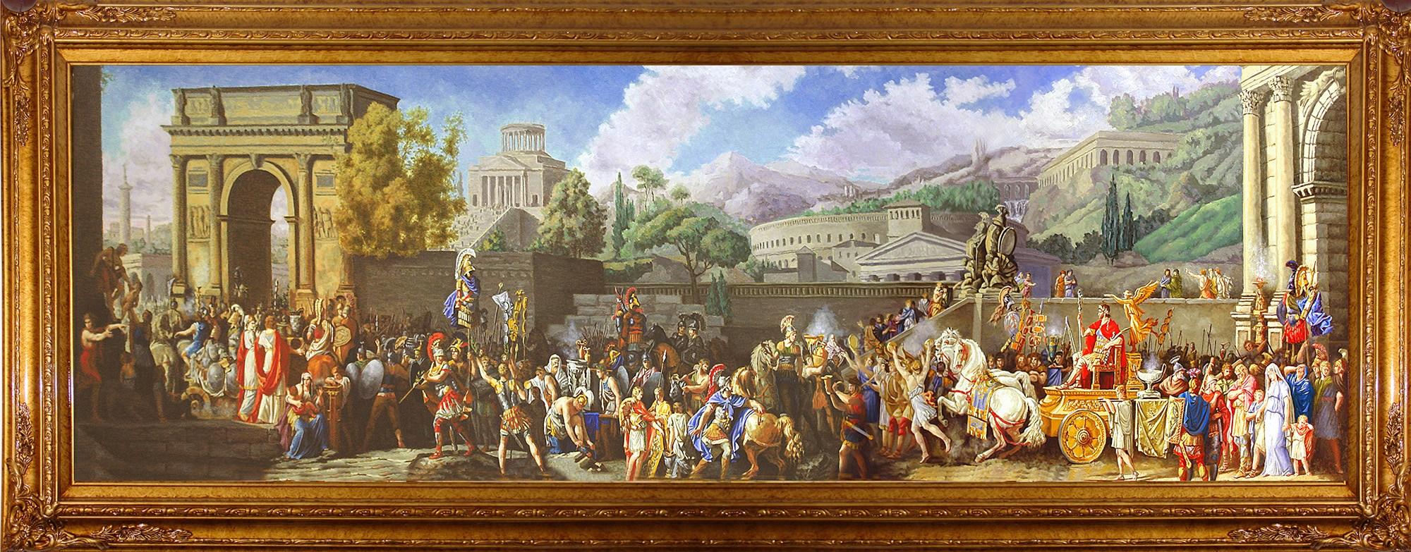 上图:古罗马凯旋仪式(拉丁语:triumphus)。凯旋仪式是古罗马授予获得重大胜利的将军的庆祝仪式,这是罗马人最大且最受欢迎的荣耀。凯旋仪式上的游行队伍一般都非常长,顺序是:元老院元老,号手,车载的战利品,用以献祭的白色公牛,被征服者首领的武器及徽章,被征服者首领及其亲属,其他战俘,凯旋者的扈从,站在战车上的凯旋者本人,凯旋者的已成年儿子及副官、军团长、军事保民官、骑兵队长等,凯旋者的士兵。