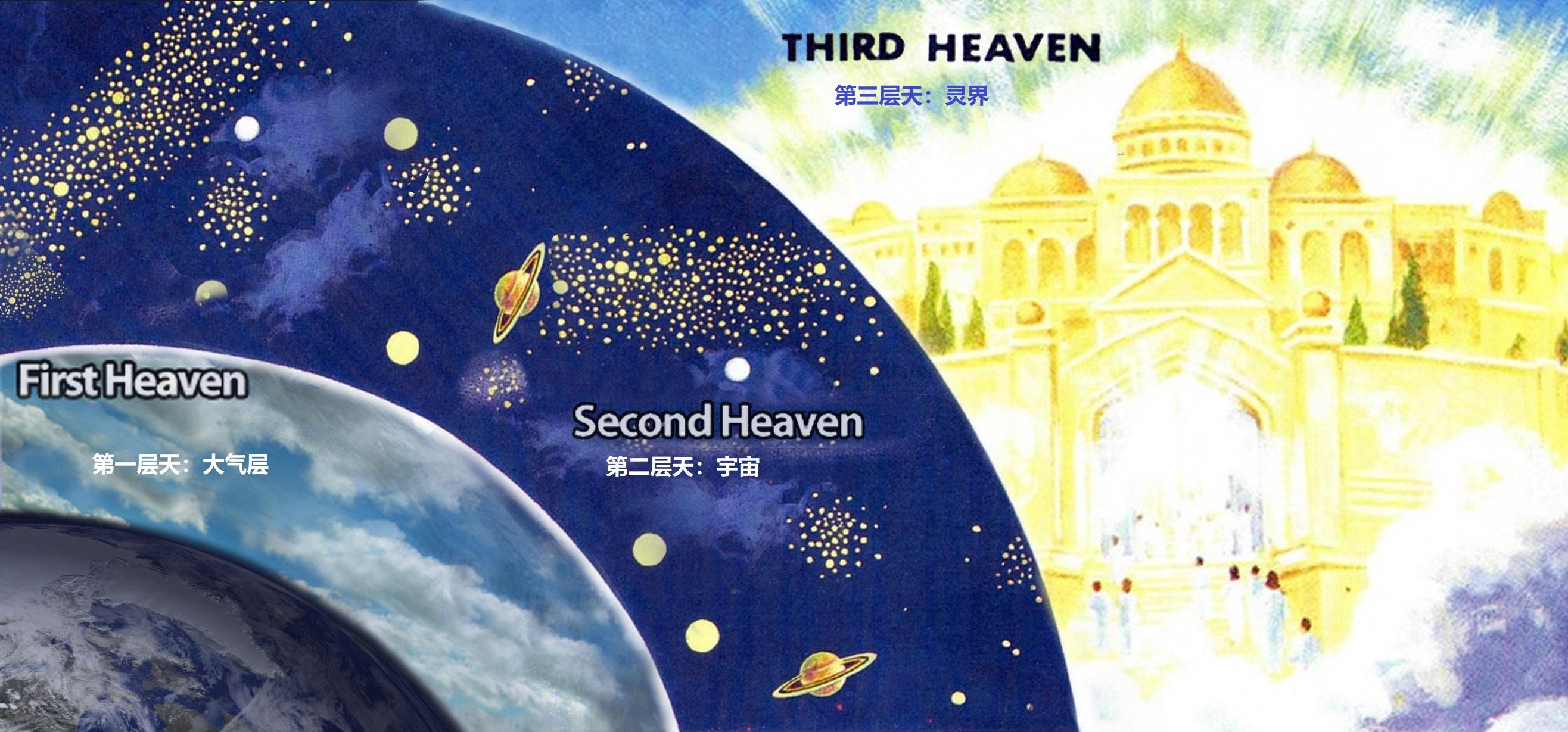 上图:保罗提到的「第三层天」(林后十二2),指非物质的天。
