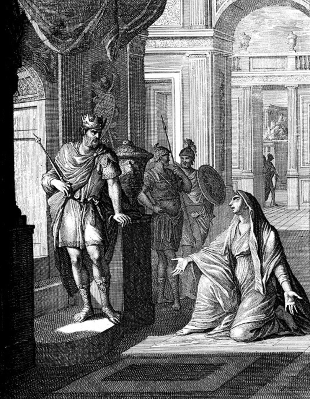 上图:17世纪荷兰Caspar Luiken的版画:大卫与提哥亚妇人。