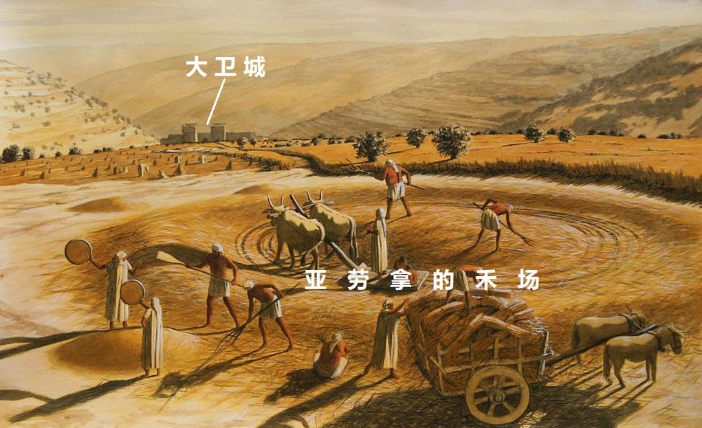 上图:艺术复原图:从摩利亚山上的亚劳拿的禾场俯瞰大卫城。亚劳拿的禾场只是很小的一片地方,所以大卫用「五十舍客勒银子」就买了那禾场与牛(撒下二十四24)。但建造圣殿需要整个摩利亚山头,所以后来大卫又支付了「六百舍客勒金子」(代上二十一25)。「亚劳拿」又名「阿珥楠」(代上二十一15)。在华人基督徒网站、甚至讲台上流传着一种「犹太人的传说」,认为「亚劳拿」和「阿珥楠」是彼此相爱的兄弟俩,他们的爱甚至感动了神,所以大卫挑选这块地建造圣殿,不少牧者甚至还引申出「阿珥楠的禾场」的教导。但这种传说在犹太人中找不到出处,在西方教会流传得也很少,只是一则来自不明的心灵鸡汤,不但与救恩毫不相干,还会高举人的爱心、混淆神借着摩利亚山显明的属灵真意:救恩完全是「耶和华以勒」。