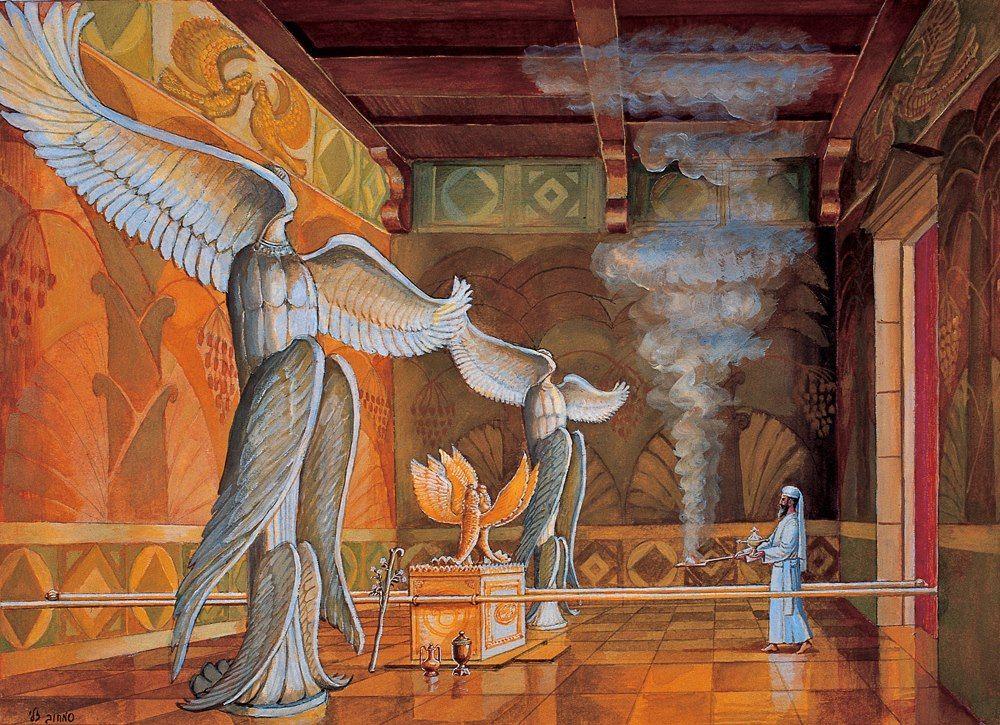 上图:所罗门圣殿至圣所的艺术想象图。但杆的位置并不准确,应该在约柜的底部。