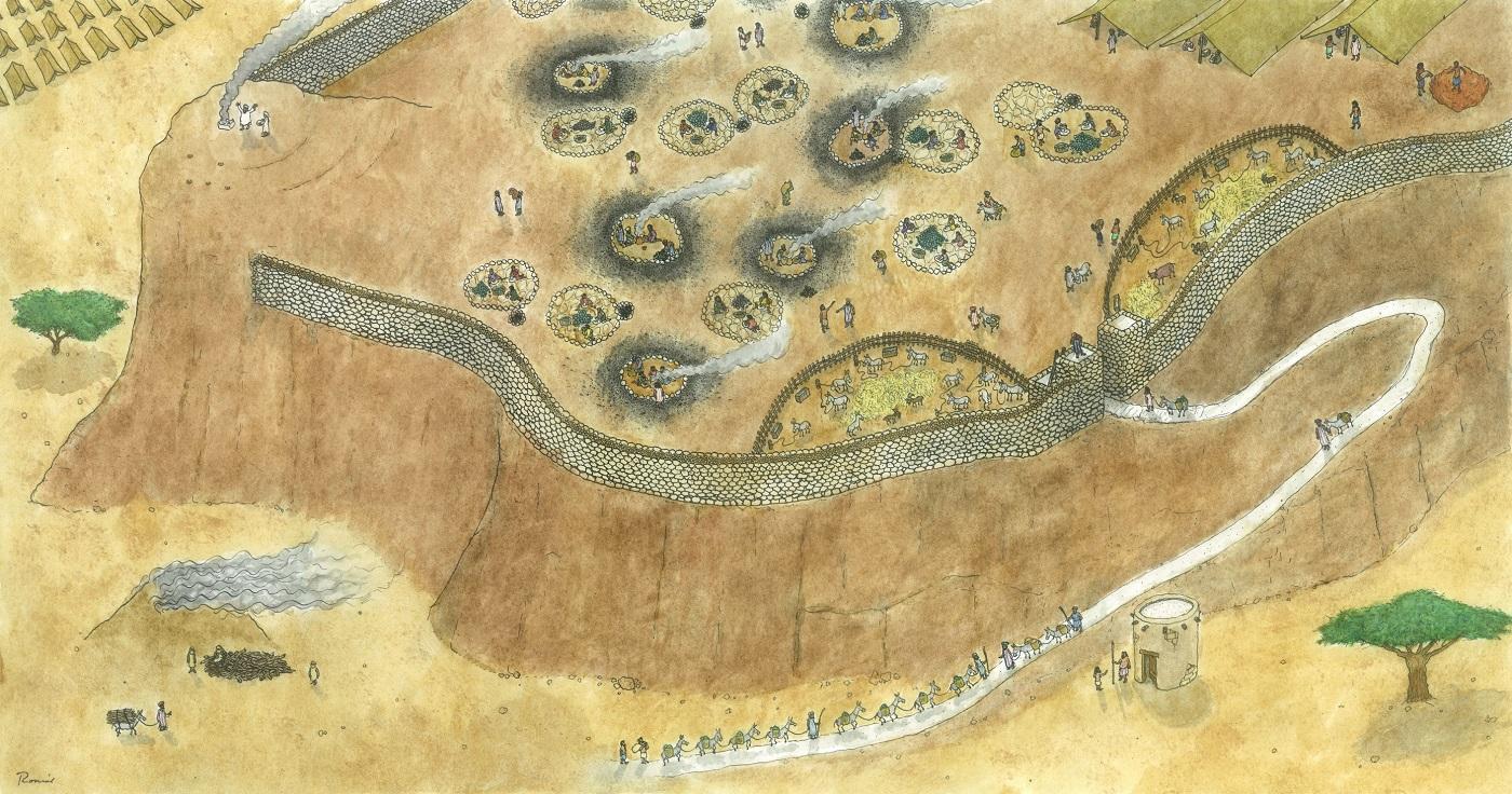 上图: Slave's Hill铜矿的艺术复原图。