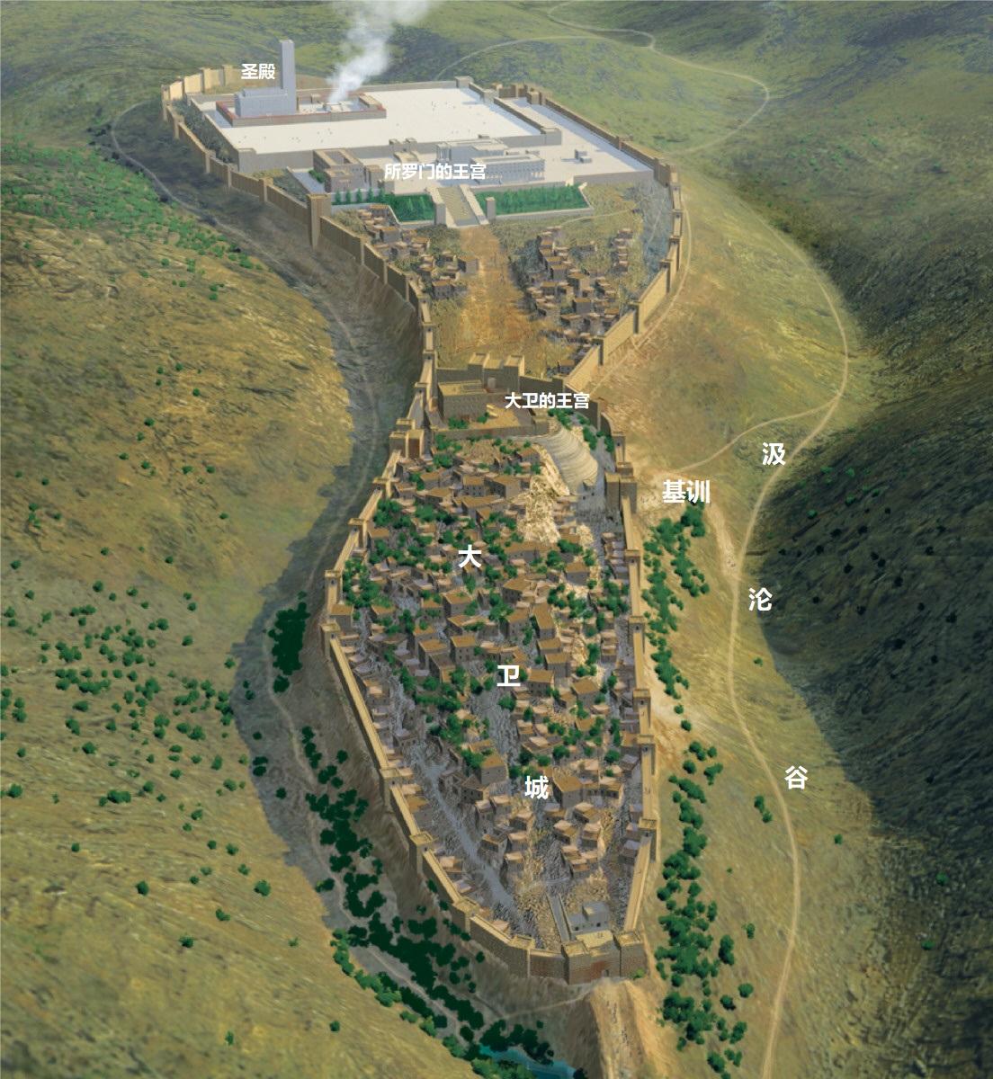 上图:所罗门时代的耶路撒冷城和圣殿。