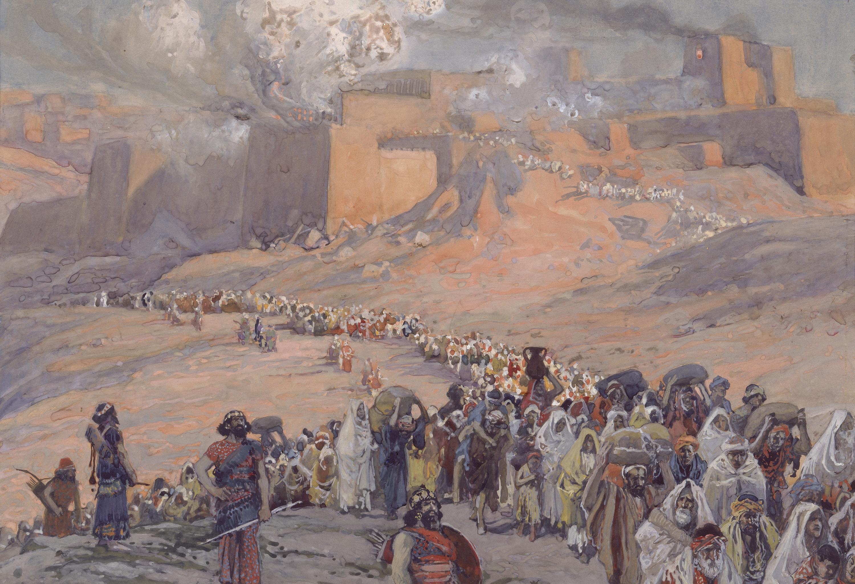 上图:19世纪末法国画家詹姆斯·迪索(James J. Tissot)的油画:主前586年耶路撒冷陷落、犹大被掳。