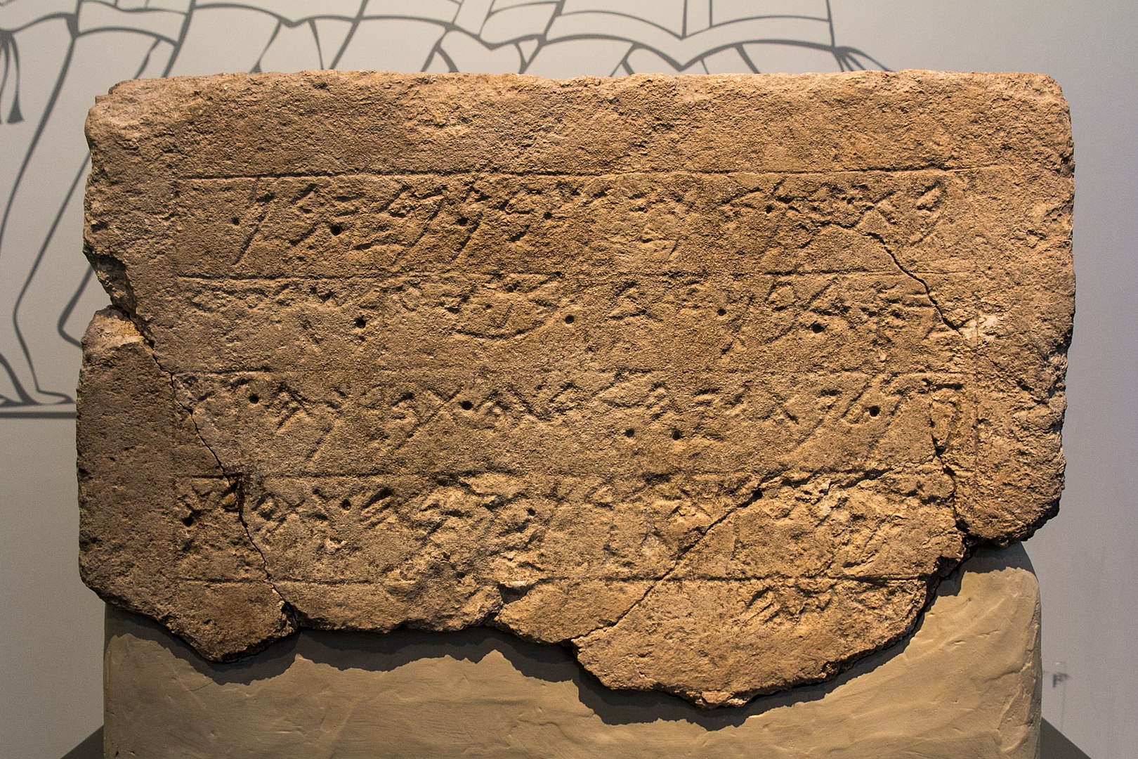 上图:1996年在以革伦遗址出土的主前7世纪早期王室奉献碑文(Ekron Royal Dedicatory Inscription),现存于以色列博物馆。碑文上刻着以革伦的名字,因此确定了以革伦遗址的准确位置。