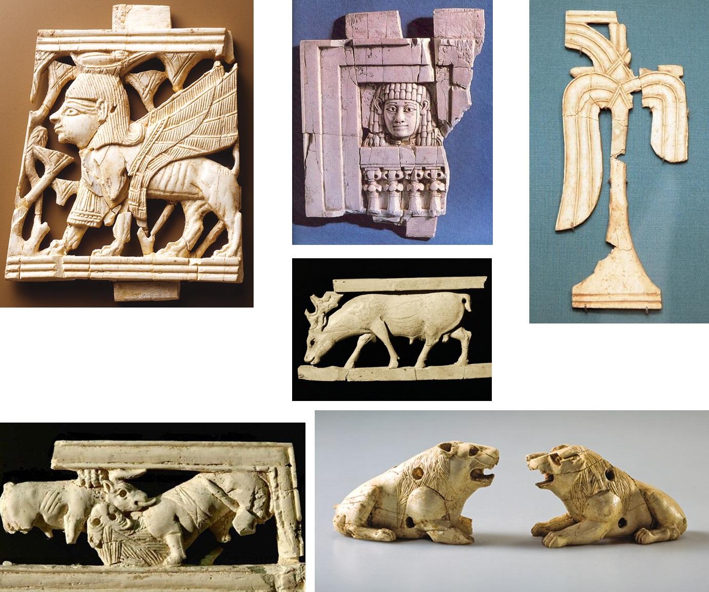 上图:考古学家在撒马利亚遗址发现了几百片主前9-8世纪的象牙物品碎片。亚哈的象牙宫里可能有大量的象牙装饰品,包括腓尼基和埃及的艺术风格。当时的象牙是从亚兰进口。
