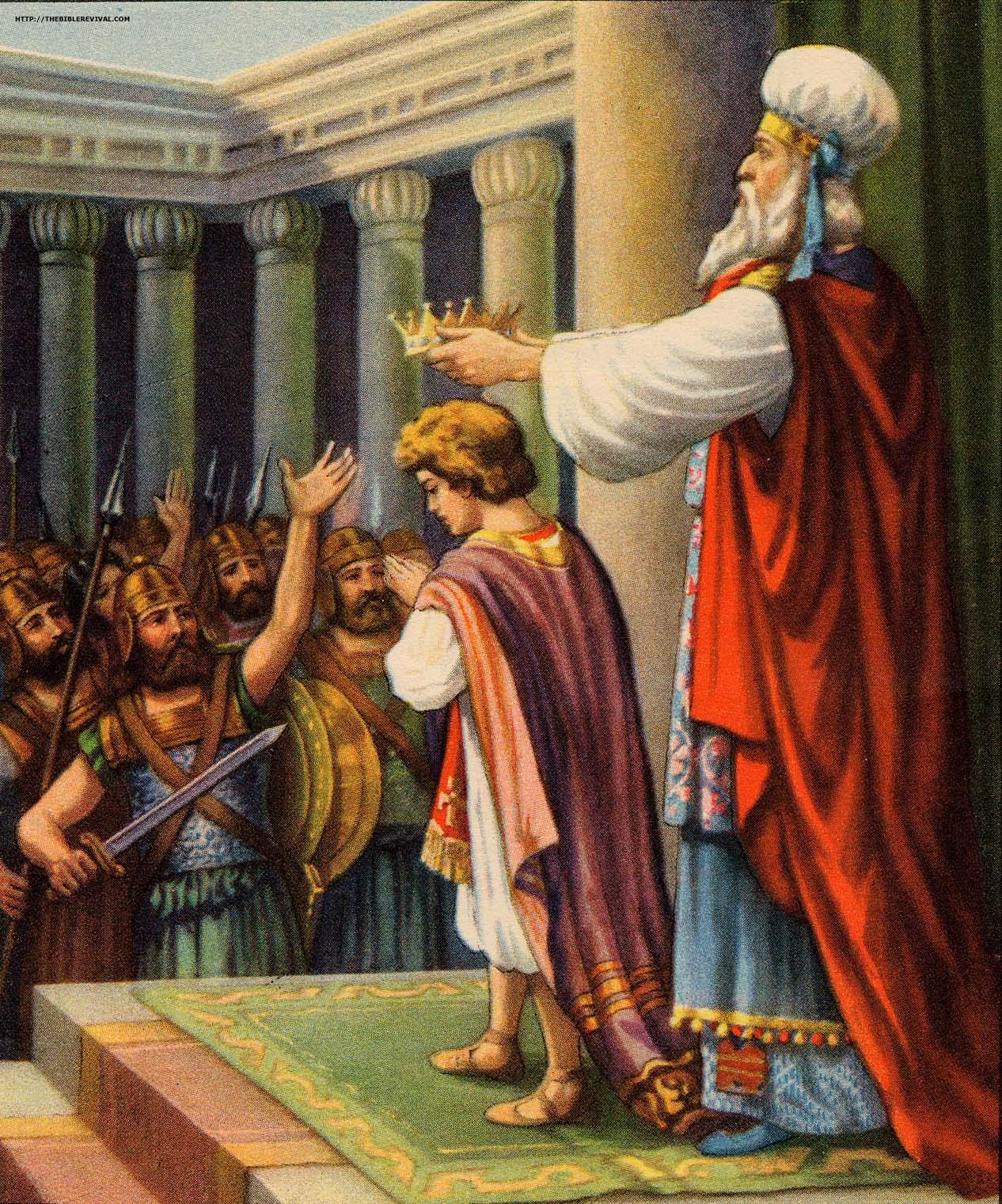 上图:大祭司给约阿施戴上冠冕(艺术想象图)。