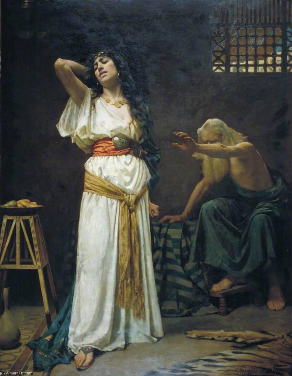 上图:1888年英国画家George Henry Grenville Manton的油画《耶罗波安的妻子与瞎眼的先知》。根据七十士译本,耶罗波安的妻子叫Ano,是一位埃及公主,法老示撒的妻子答比匿的妹妹。她在圣经中没有任何台词,但充满了悲伤。