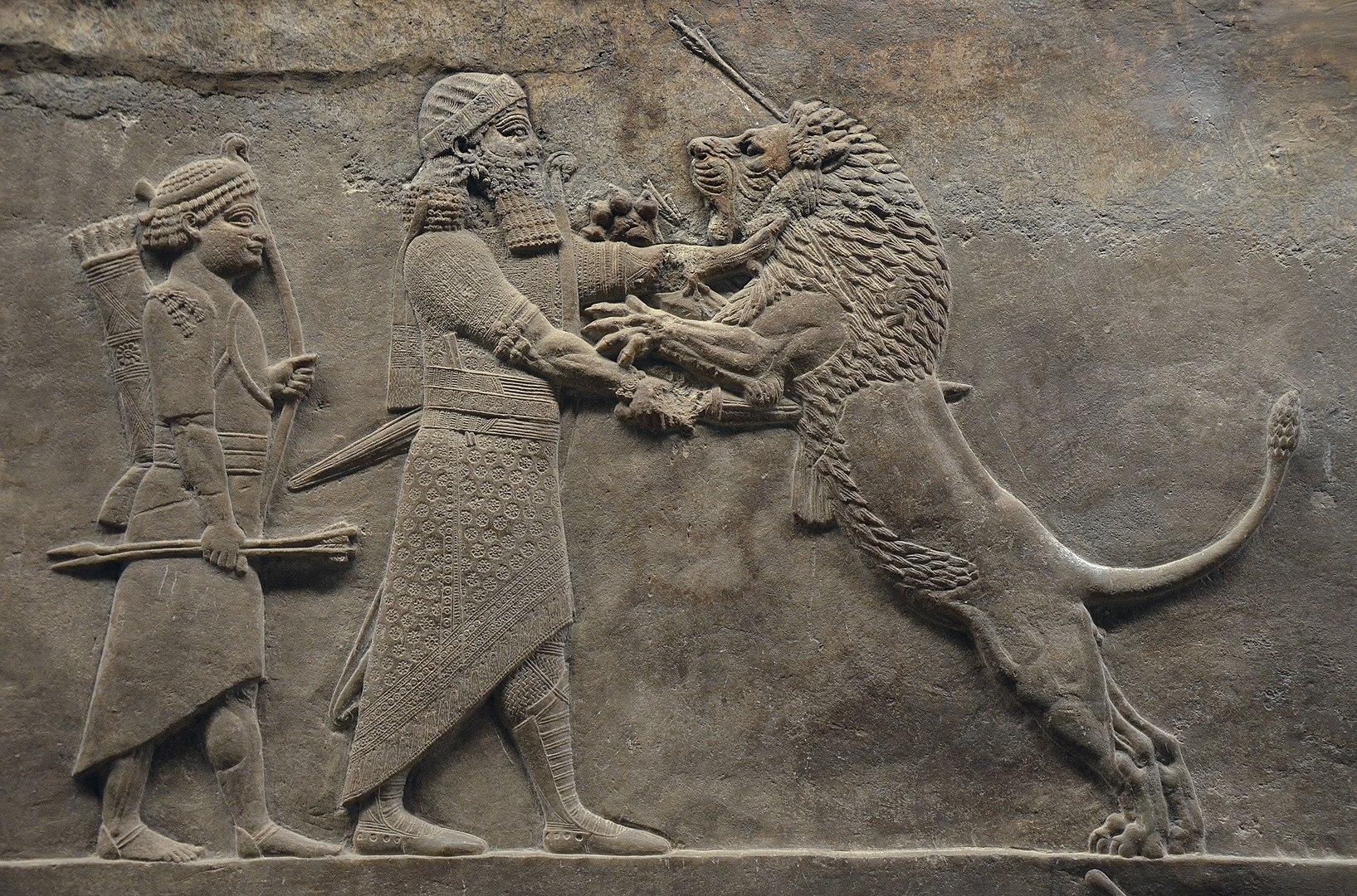 上图:亚述王亚斯那巴(Ashurbanipal,主前669-627年在位)手撕狮子的浮雕,现藏于大英博物馆。