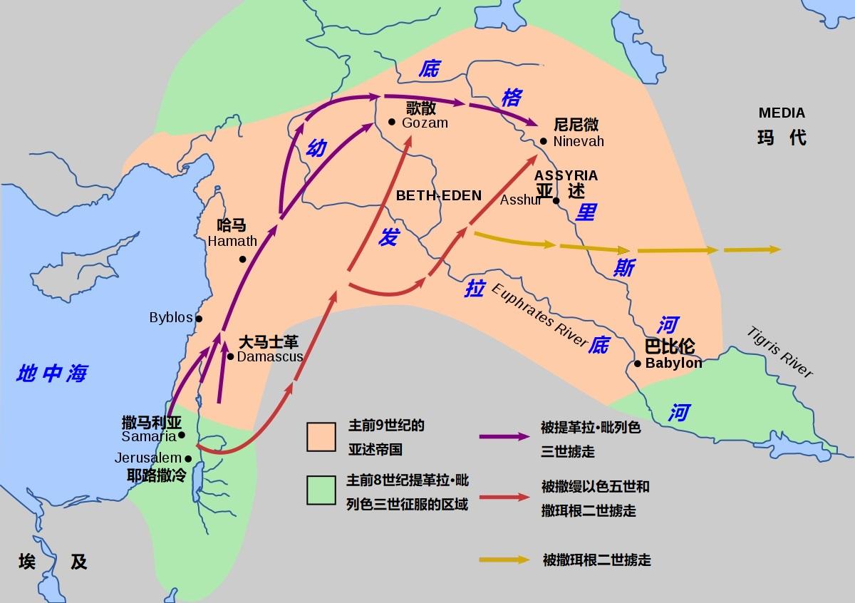 上图:主前743年以后提革拉·毗列色三世的扩张,以色列人被亚述掳走。提革拉·毗列色三世强迫迁徙被征服地区的人民,以穏固亚述帝国的统治。