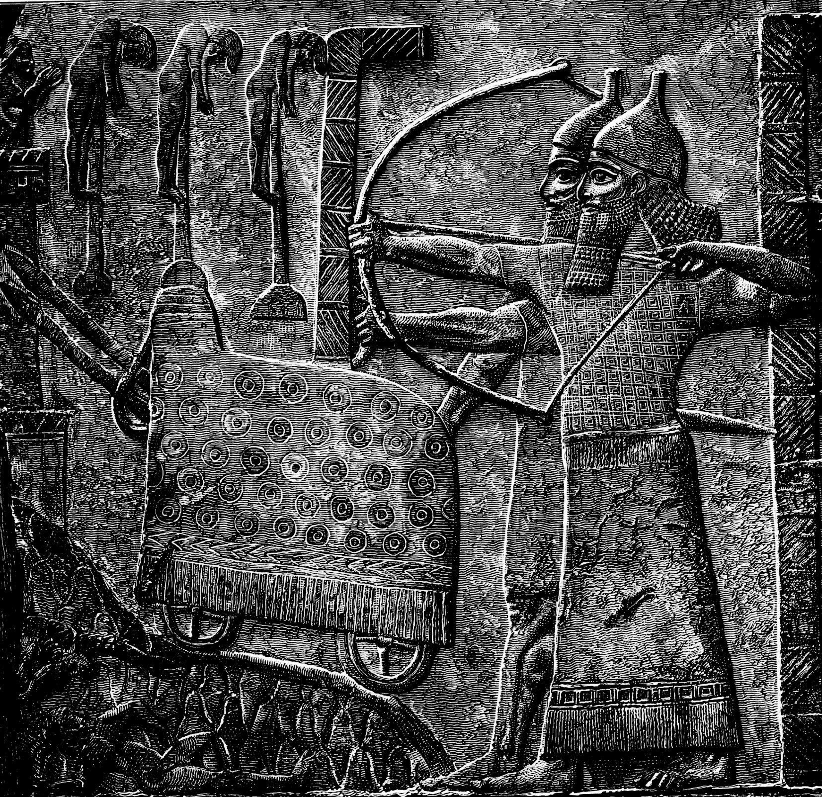 上图:亚述壁画,提革拉·毗列色三世的军队正在围攻一个城镇。