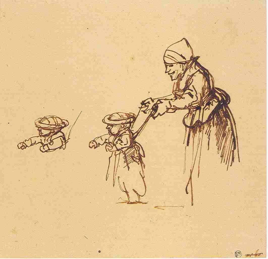 上图:十七世纪荷兰画家伦勃朗(Rembrandt,1606-1669年)的画稿,一个孩子正被「慈绳爱索」(何十一4)牵着学习走路。