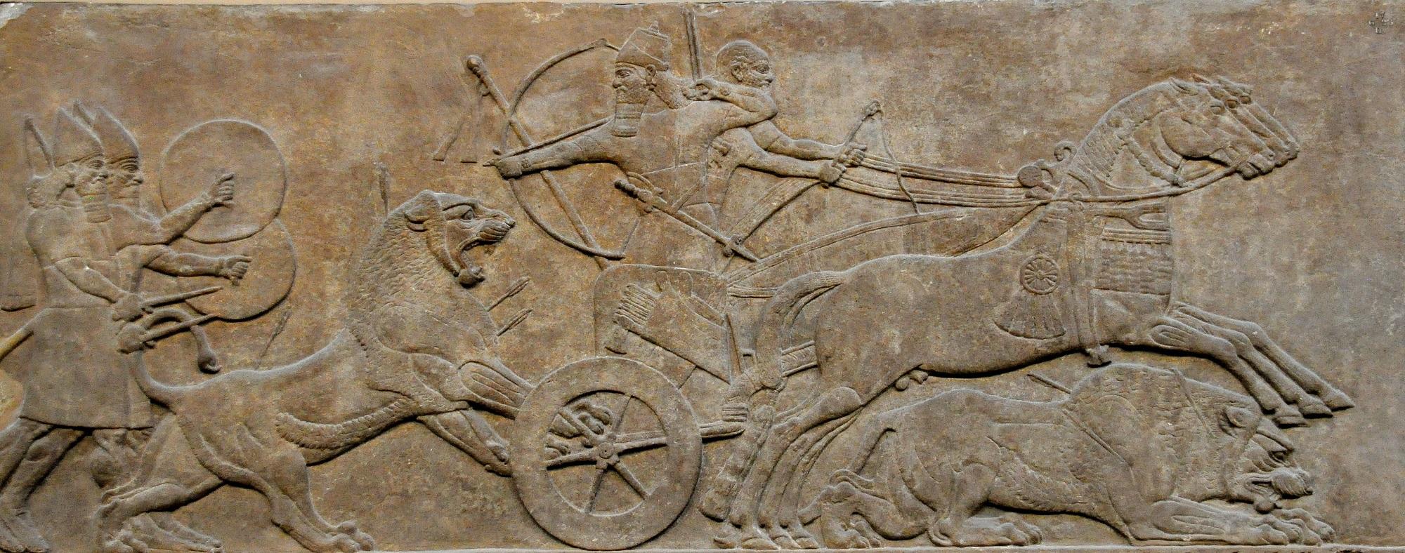 上图:亚述王亚斯那巴二世(Ashurbanipal II,主前669-627年在位)猎狮的浮雕,现藏于大英博物馆。