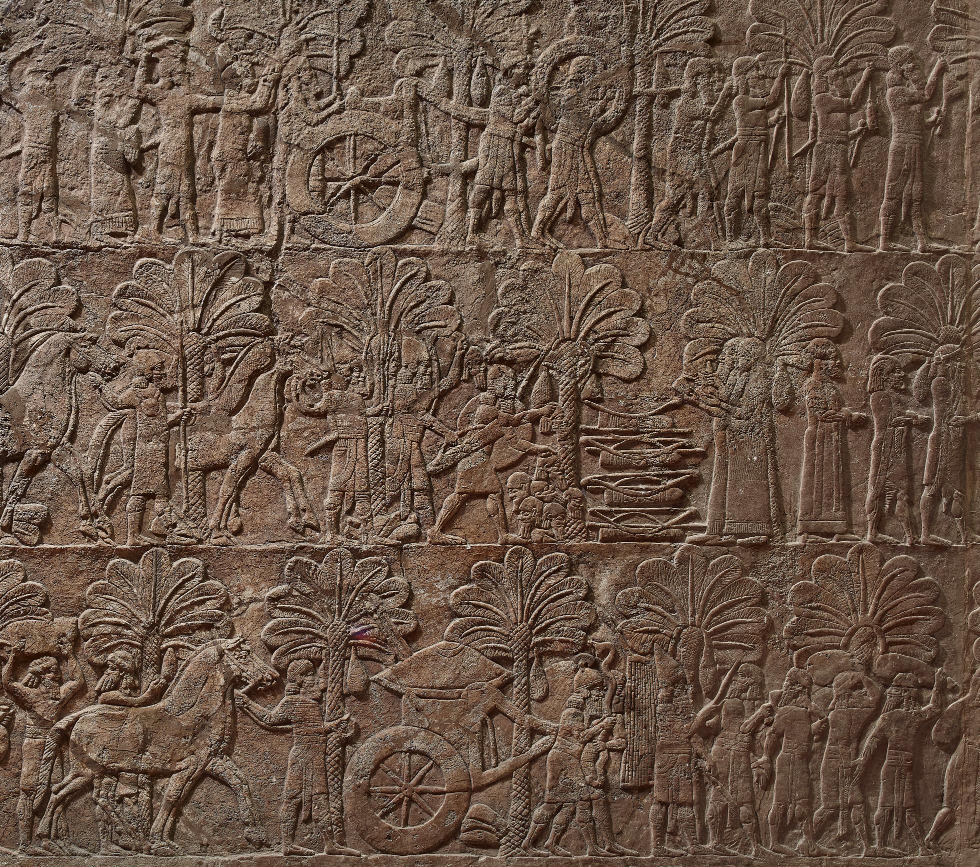 上图:尼尼微出土的亚述王亚斯那巴(Ashurbanipal,主前668-627年在位)的军队镇压巴比伦反叛、带走俘虏的壁画。主前626年,巴比伦一直是亚述的手下败将,所以犹大人不会相信遥远的巴比伦会侵略自己(哈一5)